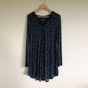 DKNY Black / Blue Long Sleeved Dress w/ Pockets